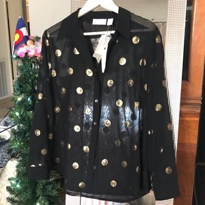 NWT Chico's Sequin Dot Blouse